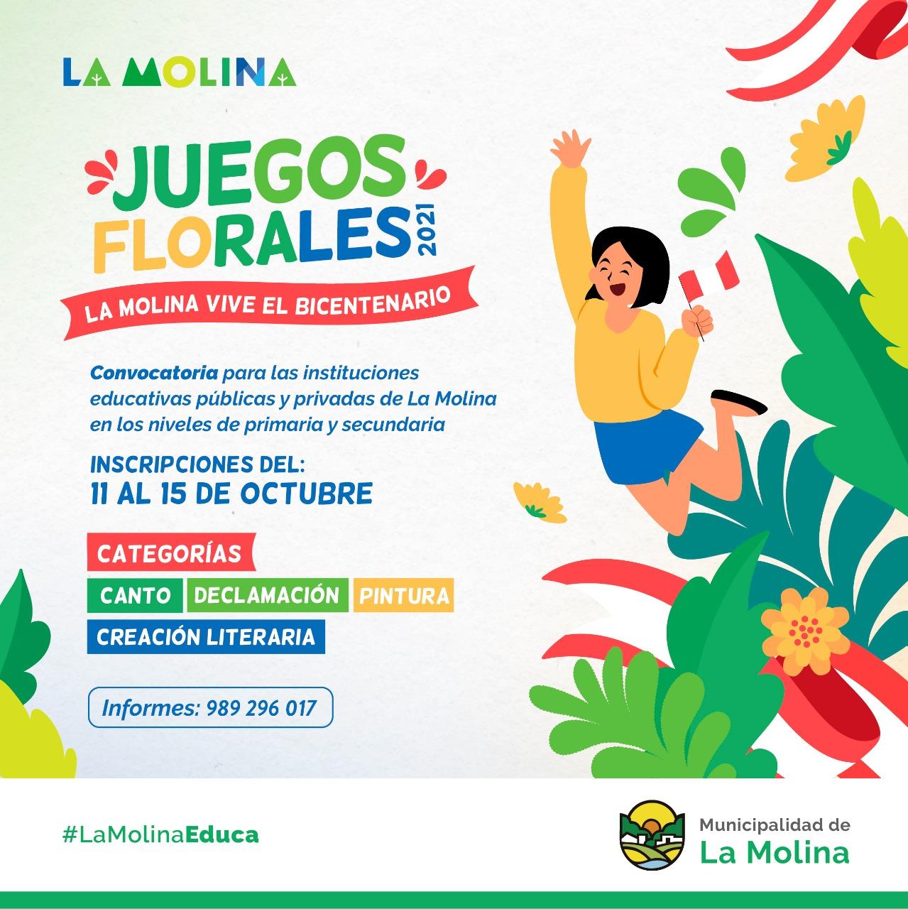 JUEGOS FLORALES DEL BICENTENARIO  Las instituciones educativas del distrito tienen hasta el 15 de octubre para participar en las 4 categorías disponibles.